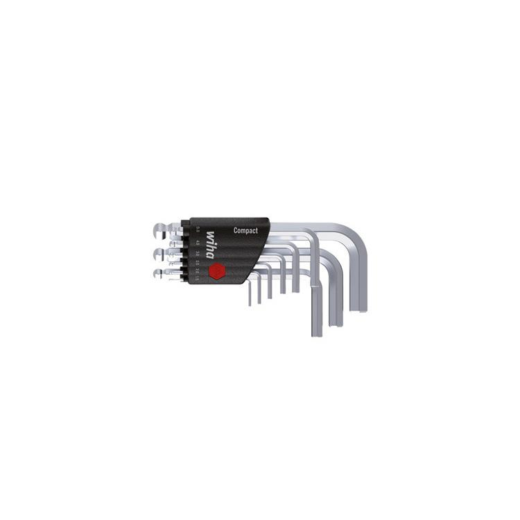 Wiha 9Pc Chrome-Vanadium Ballpoint Short Lkey