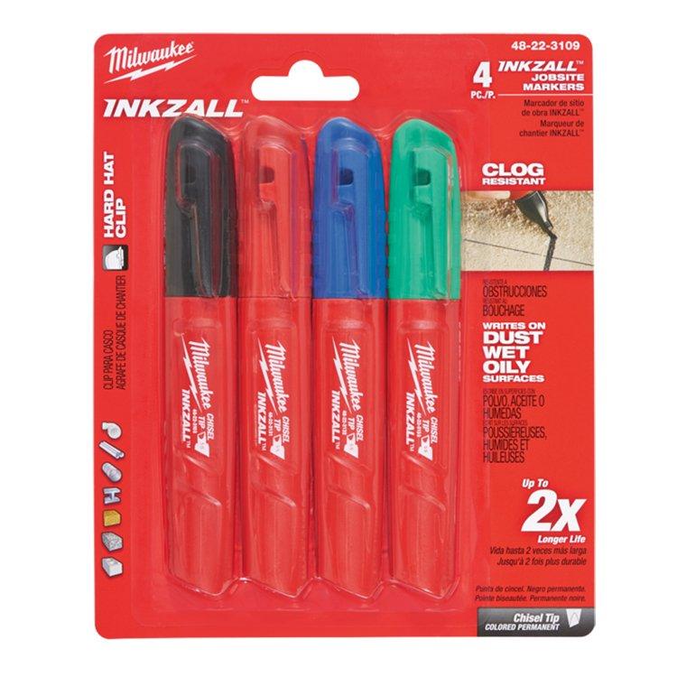 Milwaukee Inkzall Chisel Tip Markers Multi 4pk