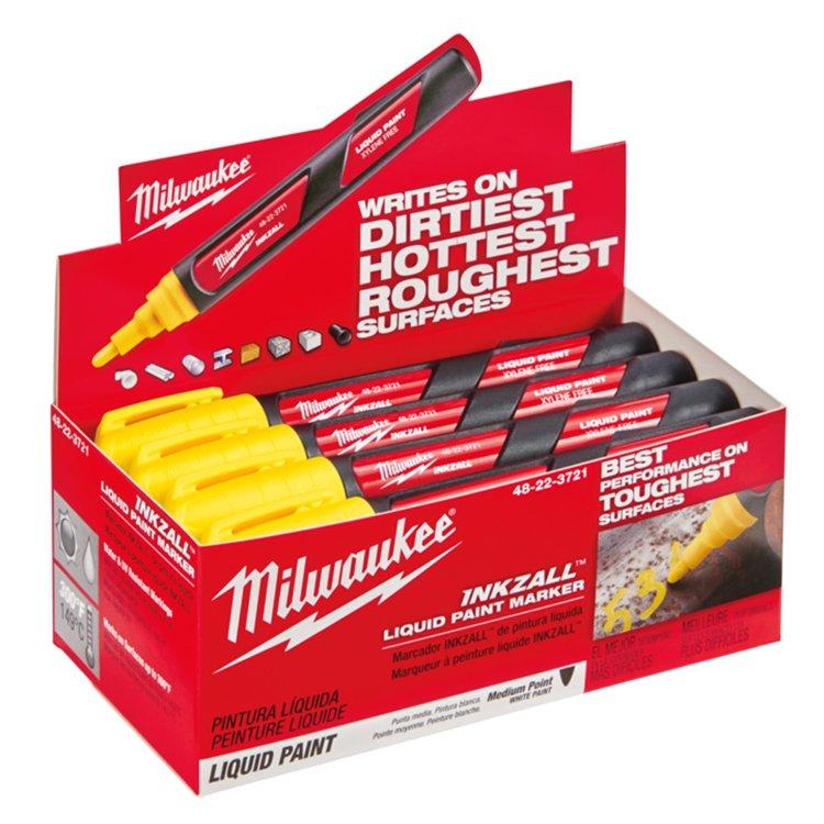 Milwaukee Inkzall Liq Paint Marker Yellow Counter Display Box (order in lots of