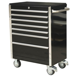 30 inch 7 Drawer Roller Cabinet Black