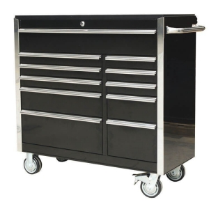 41 inch 11 Drawer Roller Cabinet Black