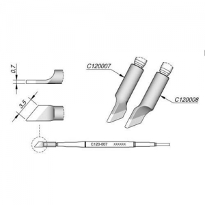 JBC C120 Tweezer Cartridge 3.5mm (Rh)