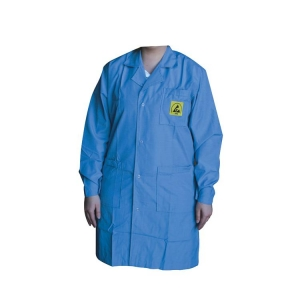 ESD Blue Cotton Poly Coat -  65/33% 2%Cf