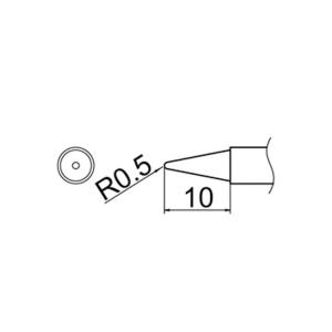 Hakko T12-B2 Soldering Tip Shape-0.5B for FM-2025. FM-2027. FM-2028. FX-9501