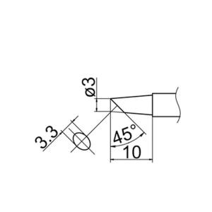 Hakko T12-BC3 Soldering Tip Shape-3Bc for FM-2025. FM-2027. FM-2028. FX-9501