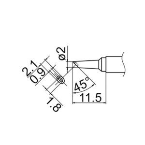 Hakko T12-BCM2 Soldering Tip Shape-2Bc W/Indent for FM-2025. FM-2027. FM-2028. F
