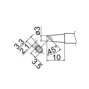 Hakko T12-BCM3 Soldering Tip Shape-3Bc W/Indent for FM-2025. FM-2027. FM-2028. F