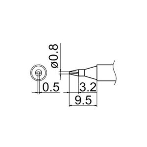 Hakko T12-D08 Soldering Tip Shape-0.8D for FM-2025. FM-2027. FM-2028. FX-9501