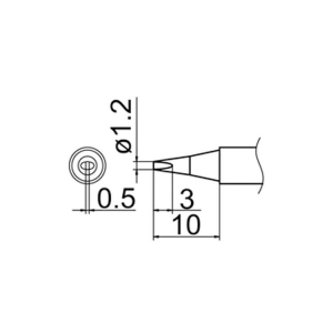 Hakko T12-D12 Soldering Tip Shape-1.2D for FM-2025. FM-2027. FM-2028. FX-9501