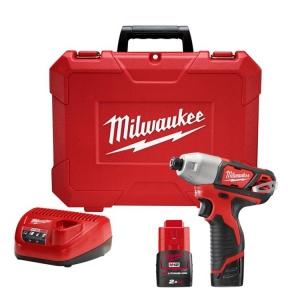 Milwaukee M12 1/4 Inch Hex Cub-Compact Impact Driver - 2 x 2.0Ah Batteries, Char