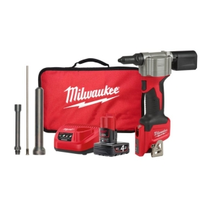 Milwaukee M12 Rivet Tool Kit - 1 x 4.0Ah Battery Extended Nose Piece Charger Con