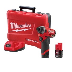 Milwaukee M12 FUEL Impact Driver Kit - 2 x 2.0Ah Batteries, Charger, Carry Case