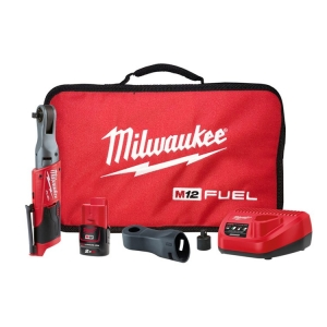 Milwaukee M12 FUEL 3/8 Inch Impact Ratchet - 1 x 2.0Ah Battery, Charger, Contrac