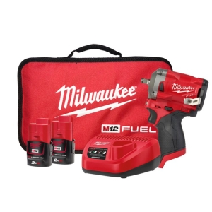 Milwaukee M12 FUEL Stubby 3/8 Inch Impact Wrench - 2 x 2.0Ah Batteries, Charger,