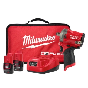 Milwaukee M12 FUEL 1/2 Inch Stubby Impact Wrench Friction Ring -  2 x 2.0Ah, Cha