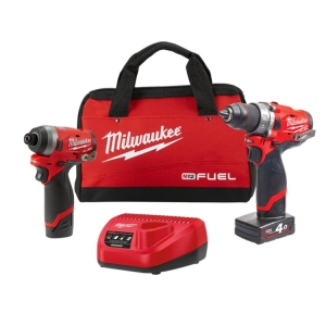 Milwaukee M12 FUEL Power Pack (FPD,FID) - 1 x 4.0Ah, 1 x 2.0Ah, Charger, Contrac
