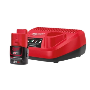 Milwaukee M12 Starter Pack - 1 x 2.0Ah Battery, Charger