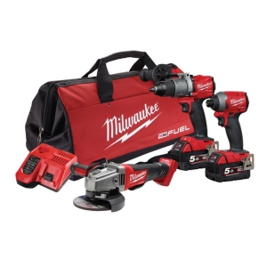 Milwaukee M18 FUEL 3 Piece Power Pack 3A2 (FPD2,FID2,CAG125XPD)- 5Ah Kit