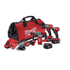 Milwaukee M18 FUEL 4 Piece Power Pack (FPD2, FID2, CAG125XPD, CH) - 5Ah Kit