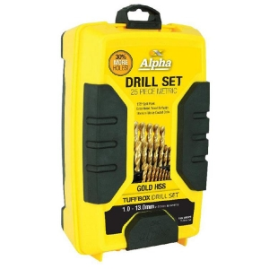 25 Piece - Metric Alpha Gold Series Tuffbox Drill Set
