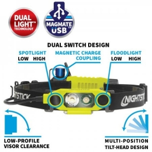 Nightstick Rechargeable Headlamp DICATA USB Intrinsically Low-Profile Dual-Light - Click for more info